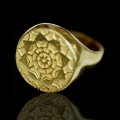 Lotus Shield Men's Ring - 14K Gold